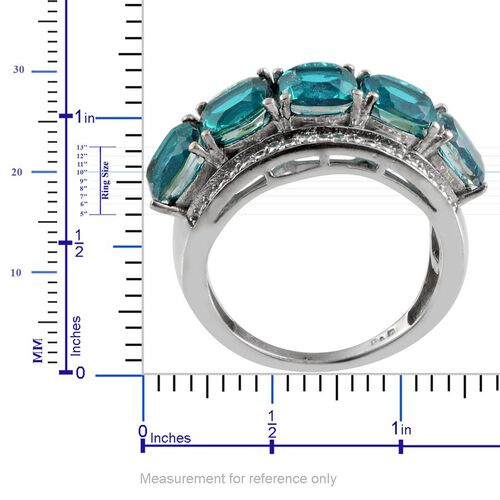 Capri Blue Quartz (Cush) 5 Stone Ring in ION Plated Platinum Bond 6.500 Ct.