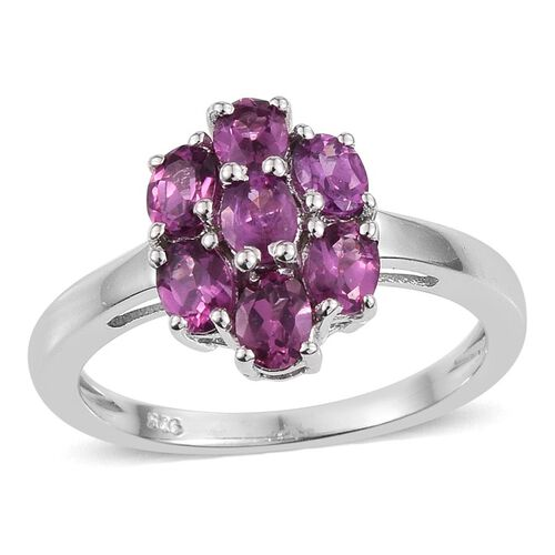 Rare Mozambique Grape Colour Garnet (Ovl) 7 Stone Floral Ring in Platinum Overlay Sterling Silver 1.500 Ct.