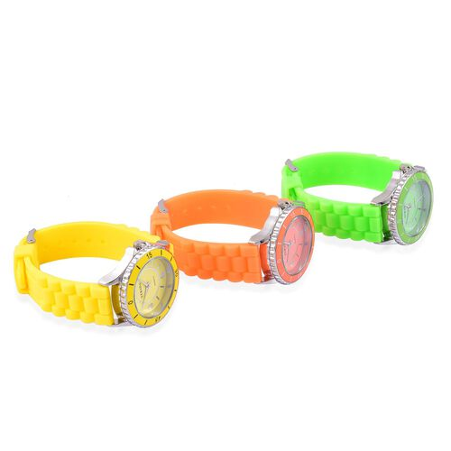 Designer Inspired Special Edition Set of 3 - STRADA Japanese Movement Yellow, Orange and Green Colour Dial Water Resistant Watch with Silicone Strap