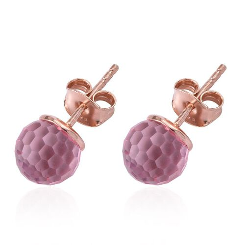 J Francis Crystal from Swarovski - Light Rose Crystal Stud Earrings (with Push Back) in Rose Gold Overlay Sterling Silver