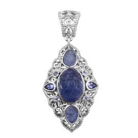 Royal Jaipur Tanzanite (Ovl 8.75 Ct), Burmese Ruby Pendant in Platinum Overlay Sterling Silver 11.500 Ct.