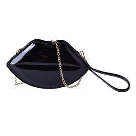 Black Colour Lip Design Crossbody Bag with Chain Strap (Size 24.5x13.5x7 Cm)