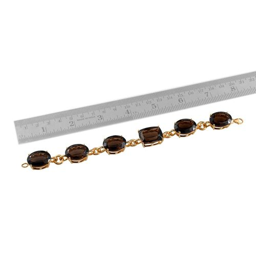 Brazilian Smoky Quartz (Cush 20.00 Ct) Bracelet in 14K Gold Overlay Sterling Silver (Size 7.5) 104.000 Ct.