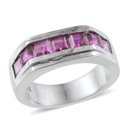 Simulated Ruby (Sqr) Ring in ION Plated Stainless Steel 2.500 Ct.
