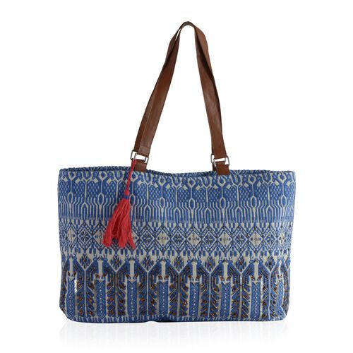 Blue, White and Multi Colour Jacquard Tote Bag (Size 45x35 Cm)