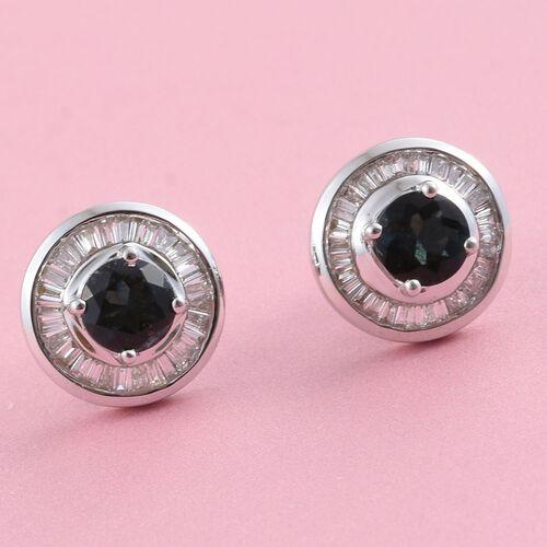 ILIANA 18K W Gold AAA Monte Belo Indicolite (Rnd), Diamond (SI/G-H) Stud Earrings (with Screw Back) 1.250 Ct.
