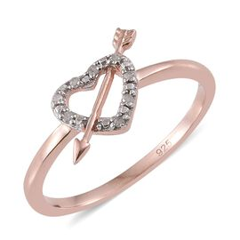 Diamond (Rnd) Heart With Arrow Ring in Rose Gold Overlay Sterling Silver