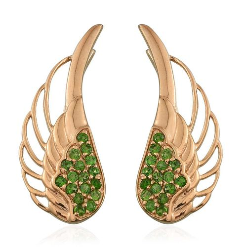 Russian Diopside (Rnd) Angel Wing Earrings in 14K Gold Overlay Sterling Silver 0.750 Ct.