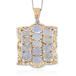 Royal Jaipur Ethiopian Welo Opal (Ovl), Burmese Ruby Pendant With Chain in Platinum Overlay Sterling Silver 4.270 Ct.