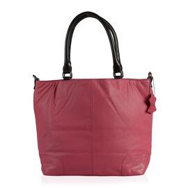 TOP Grain Leather RFID Blocker Raspberry Colour Tote Bag with External Zipper Pocket (Size 40X31X15.5 Cm)