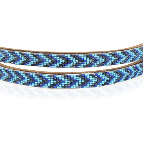 Genuine Leather Handmade Navy Blue, Turquoise and Black Colour Seed Beaded Belt (Size 110x1.25 Cm)