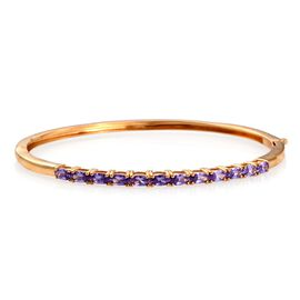 AAA Simulated Purple Sapphire (Ovl) Bangle (Size 7.5) in ION Plated 18K YG Bond