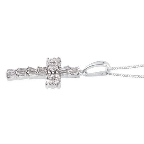 J Francis - Platinum Overlay Sterling Silver (Rnd) Cross Pendant With Chain Made with SWAROVSKI ZIRCONIA