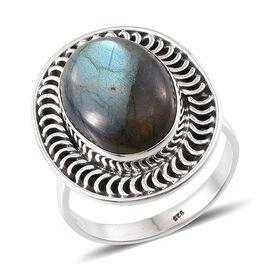 Designer Inspired Labradorite (Ovl) Solitaire Ring in Sterling Silver 8.330 Ct