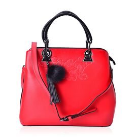 PREMIER COLLECTION Floral Embossed Red Tote Bag With Adjustable and Removable Shoulder Strap (Size 30x27.5x26x12 Cm)