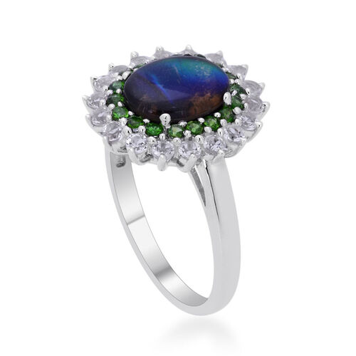 Tucson Collection Canadian Ammolite (Ovl 2.00 Ct), Russian Diopside and White Topaz Ring in Platinum Overlay Sterling Silver 3.058 Ct.