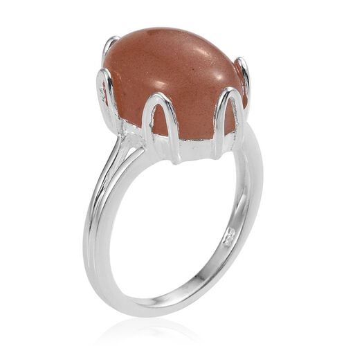 Peach Moonstone (Ovl) Solitaire Ring in Sterling Silver 6.000 Ct.
