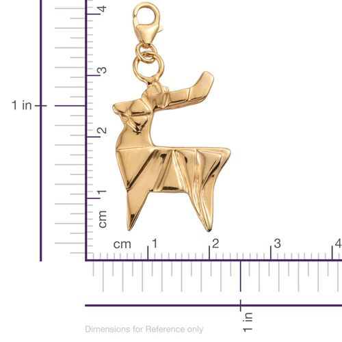 Origami Reindeer Silver Charm Pendant in Gold Overlay, Silver wt 5.48 Gms.