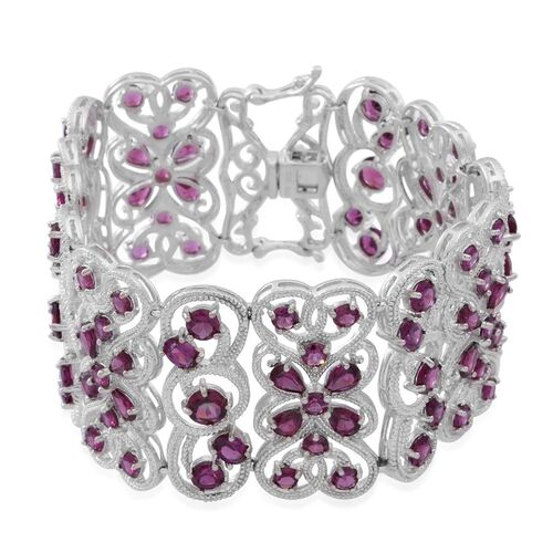 Rhodolite Garnet (Pear) Bracelet (Size 7.5) in Rhodium Plated Sterling Silver 43.000 Ct.