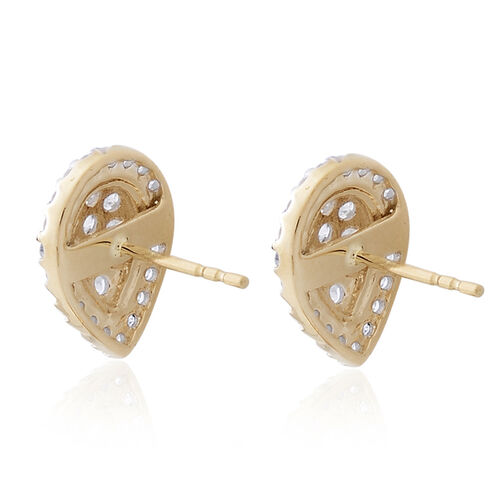 9K Yellow Gold 1 Carat Diamond Pear Cluster Stud Earrings SGL Certified I3 G-H