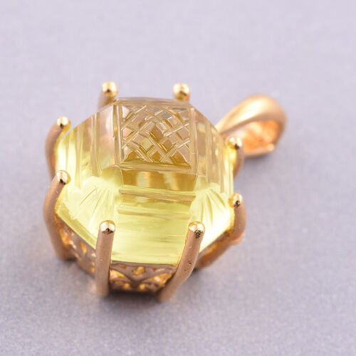 Premium Laser Cut Natural Green Gold Quartz (Octillion) Solitaire Pendant in 14K Gold Overlay Sterling Silver 8.500 Ct.