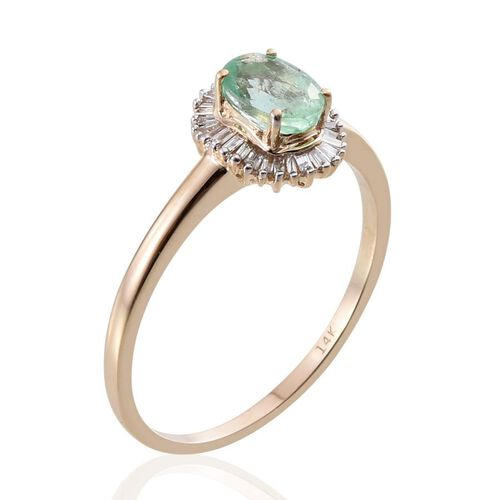 14K Y Gold Boyaca Colombian Emerald (Ovl 0.85 Ct), Diamond Ring 1.000 Ct.