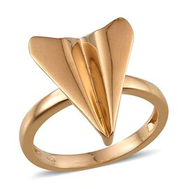 14K Gold Overlay Sterling Silver Origami Airplane Ring, Silver wt 4.69 Gms.