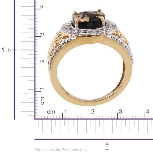Goldenite (Ovl 2.00 Ct), Diamond Ring in 14K Gold Overlay Sterling Silver 2.020 Ct.