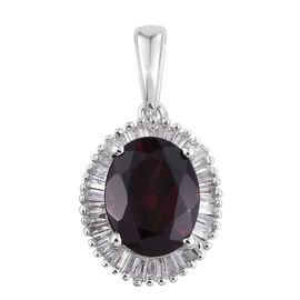 9K W Gold Rare Mozambique Grape Colour Garnet (Ovl 2.35 Ct), Diamond Pendant 2.500 Ct.