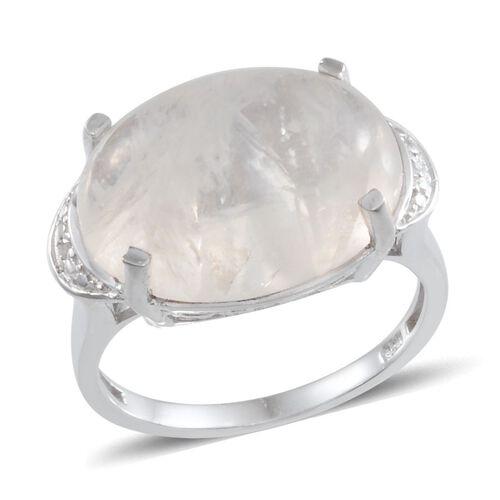 Ceylon Rainbow Moonstone (Ovl 13.25 Ct), Diamond Ring in Platinum Overlay Sterling Silver 13.260 Ct.