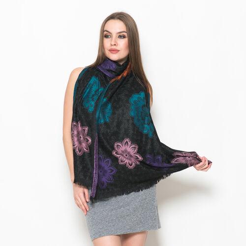 Designer Inspired Multi Colour Embroidered Black Colour Scarf (Size 190x65 Cm)