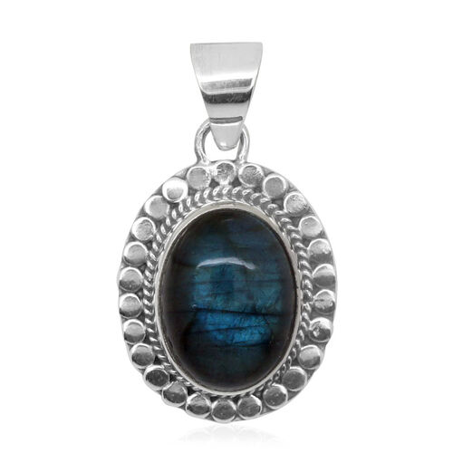 Royal Bali Collection Labradorite (Ovl) Pendant in Sterling Silver 9.980 Ct.