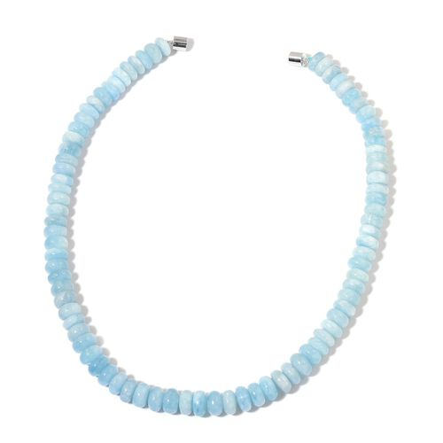 Rare AAA Espirito Santo Aquamarine Necklace (Size 20) with Magnetic Clasp in Rhodium Plated Sterling Silver 430.000 Ct.