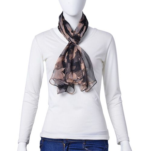 100% Mulberry Silk Black and Coffee Colour Floral Pattern Scarf (Size 150X80 Cm)