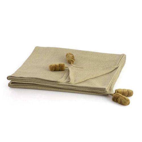 Beige Colour Throw with Golden Tassels (Size 145x125 Cm)