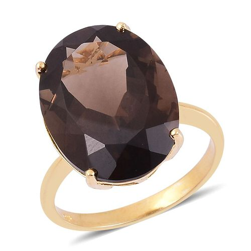 Rare Size Brazilian Smoky Quartz (Ovl) Ring in Yellow Gold Overlay Sterling Silver 17.000 Ct.
