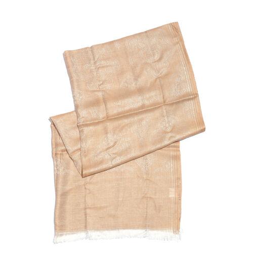 Damask Pattern Dark Cream Colour Jacquard Scarf with Tassels (Size 180x70 Cm)