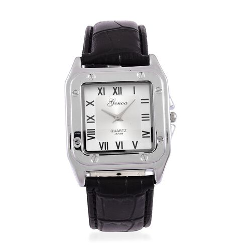 GENOA Japanese Movement Silver Colour Dial Water Resistant Watch in Silver Tone with Stainless Steel Back and Black Strap