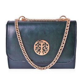 Dark Green Colour Crossbody Bag with Chain Strap (Size 21x16x8 Cm)