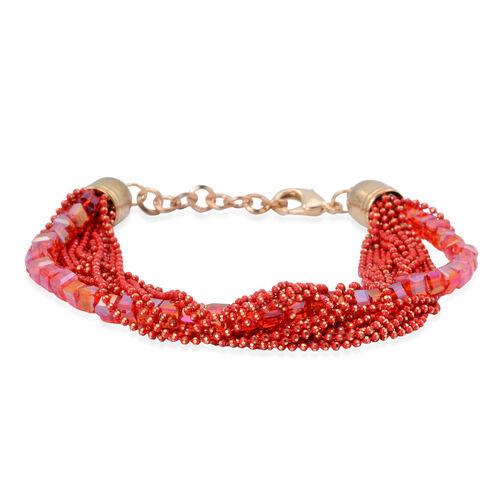 Handmade 19 Strand, Multi layer Diamond Cut Red Beaded Chain and Cubical Glass Bracelet
