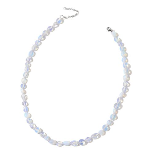 Opalite Necklace (Size 18 with 2 inch Extender) in Rhodium Plated Sterling Silver 50.000 Ct.