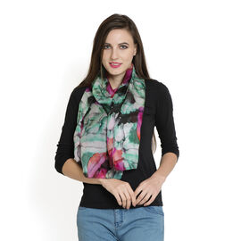 100% Mulberry Silk Green and Multi Colour Floral Pattern Digital Printed Scarf (Size 180x50 Cm)