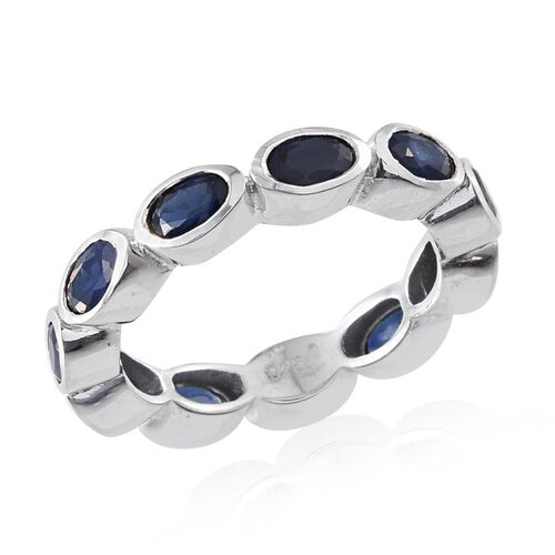 Kanchanaburi Blue Sapphire (Ovl) Full Eternity Ring in Platinum Overlay Sterling Silver 3.250 Ct.