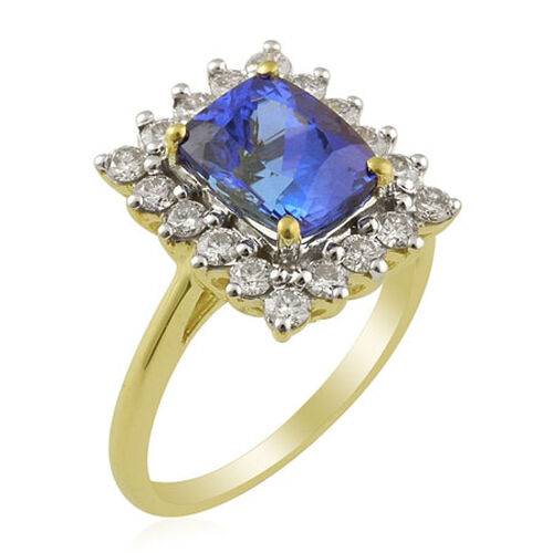 ILIANA AAA Tanzanite (2.30 Ct) and Diamond 18K Y Gold Ring  3.000  Ct.