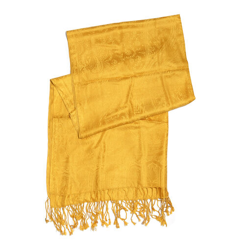 SILK MARK - 100% Super Fine Silk Golden Colour Floral and Paisley Pattern Jacquard Jamawar Scarf with Fringes (Size 180x70 Cm) (Weight 125 - 140 Gms)