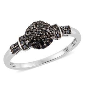 Black Diamond (Rnd) Ring in Platinum Overlay Sterling Silver 0.250 Ct.