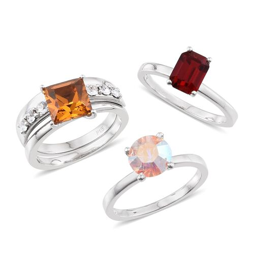 Set of 4 - Crystal from Swarovski - Topaz Colour Crystal, AB Crystal, Light Siam Crystal and White Crystal Ring in ION Plated Platinum Bond