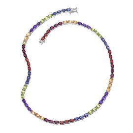 Mozambique Garnet (Ovl), Rhodolite Garnet, Hebei Peridot, Amethyst, Citrine and Iolite Necklace (Size 18) in Platinum Overlay Sterling Silver 35.500 Ct.