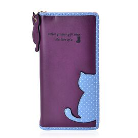 Cat Charm Dark Purple and Blue Colour Wallet (Size 19x9x3 Cm)