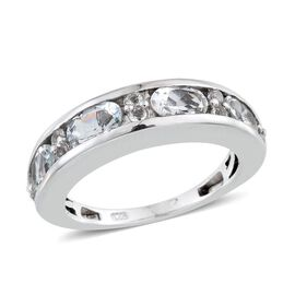 Espirito Santo Aquamarine (Ovl), White Topaz Half Eternity Band Ring in Platinum Overlay Sterling Silver 1.750 Ct.